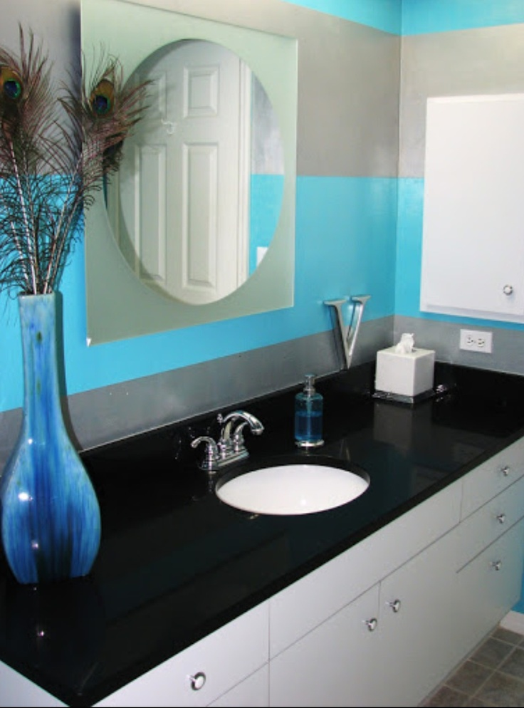 turquoise black bathroom home ideas pinterest