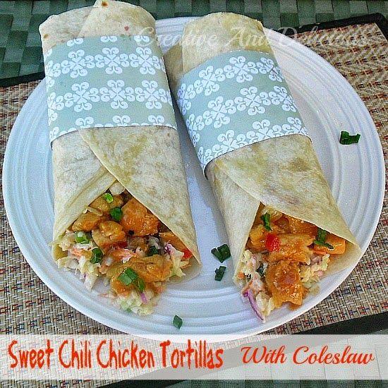 Sweet Chili Chicken Tortillas with Coleslaw #SweetChiliChicken # ...