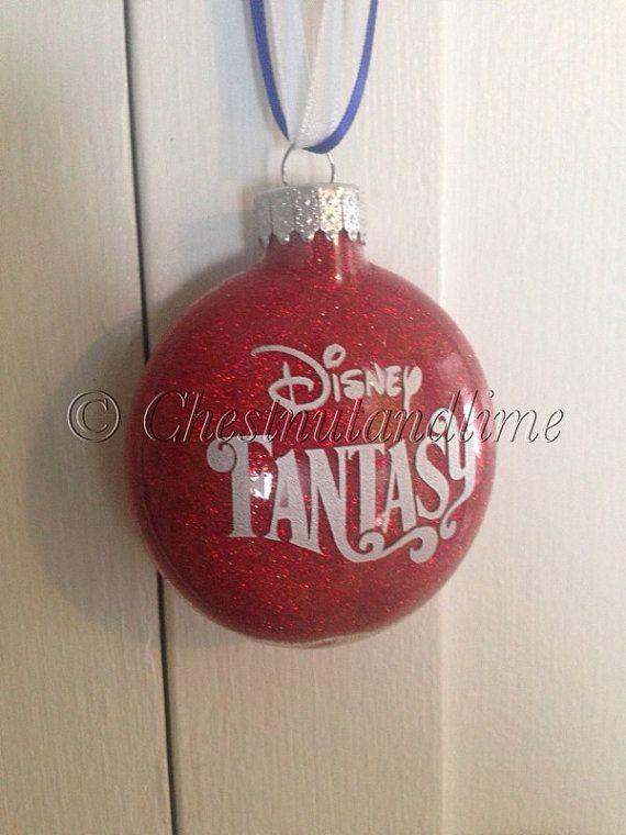 Disney Cruise Glass Glitter Christmas Ornament