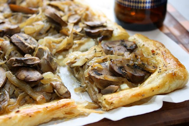 Beer Caramelized Mushroom & Onion Tart   deliciousness   Pinterest