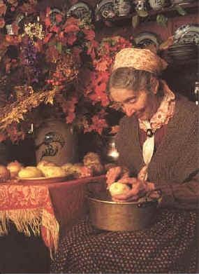 Tasha Tudor ~ Peeling Potatoes