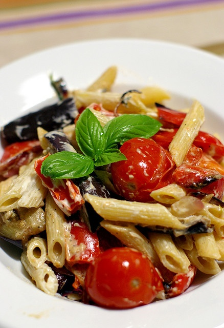 Penne with Roasted Vegetables & Goat Cheese - eggplant, bell pepper ...