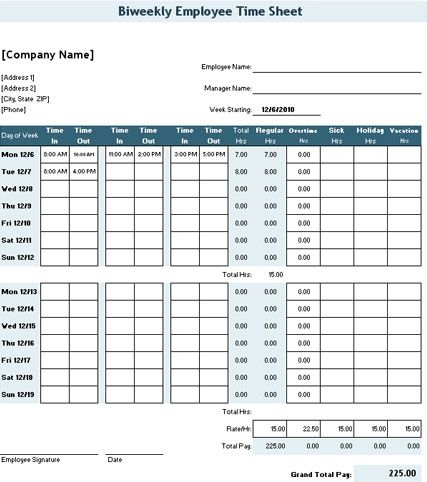 Sample Daily Timesheet