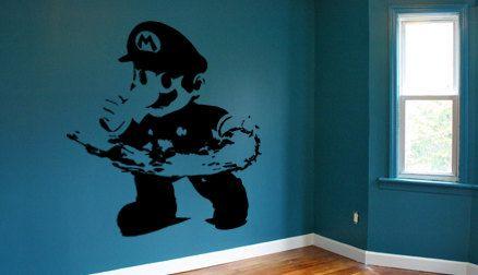 mario wall decal nintendo luigi video game mural wall art