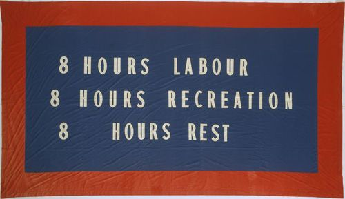 Reproduction of the original 1856 Melbourne Eight Hour Day banner, designed by Thomas Vine.