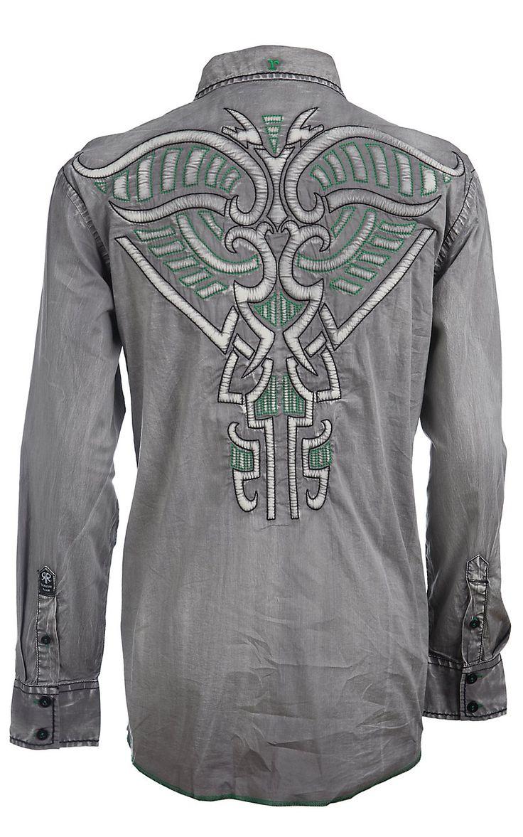 Roar men s grey boost embroidered long sleeve western