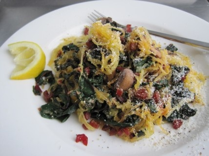 Recipe to try: Spaghetti Squash with Kale and Swiss Chard (maybe with ...