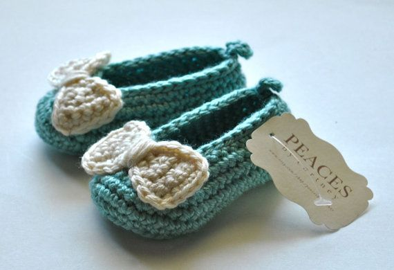 Baby Girl Slippers - Tiffany & Co Inspired Baby Blue Baby Shoes, Baby Booties, Baby Slippers, Newborn Slippers, Baby Shoes via Etsy