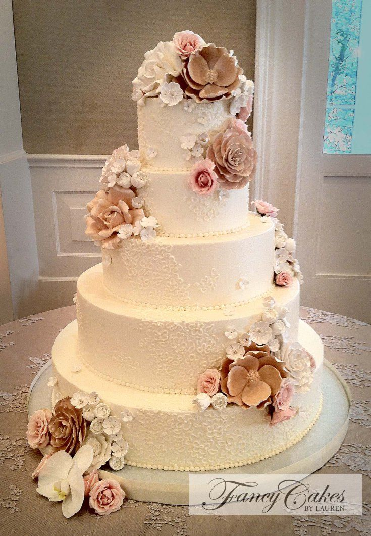 Sugar Flowers And Lace Wedding Cake