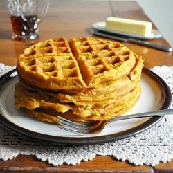 pumpkin waffles made with pumpkin pie mix and omitted sugar and spices