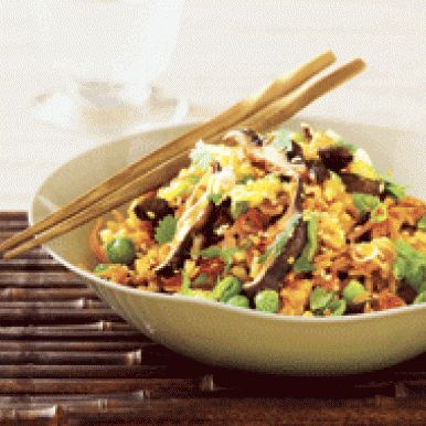 Fried Rice with Shiitake Mushrooms and Peas