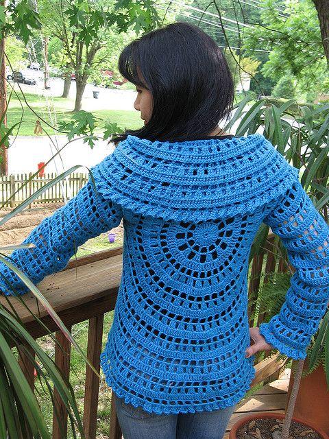 Pattern. Crocheted Circle Jacket. Crochet Pinterest