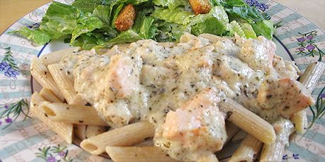 Creamy Salmon on Whole Wheat Penne with Salad - looks easy, but better ...