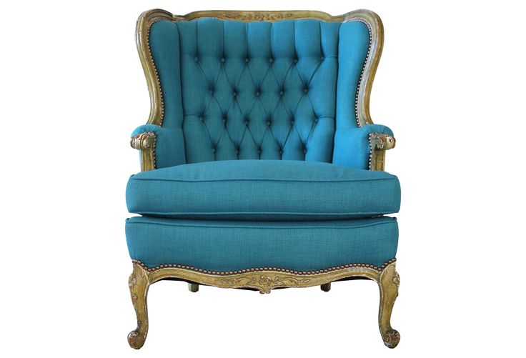 One Kings Lane - Saturated Colors - Peacock Blue Wing Chair