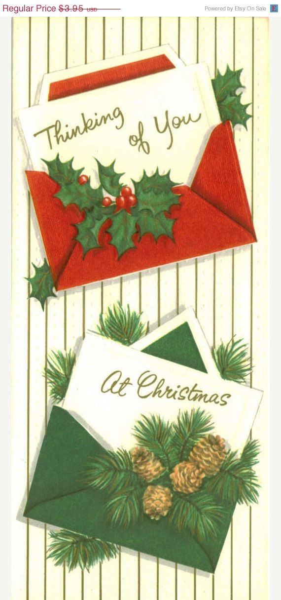 15% OFF SALE Vintage Christmas Card, Thinking of You, Unused: pinterest.com/pin/190277152980067667
