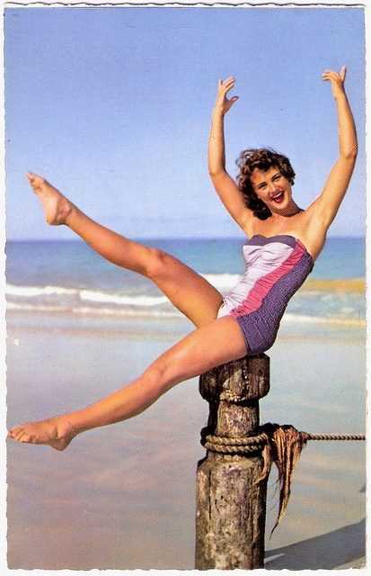 Fabulous swimsuit - one doesn't encounter too many 1950s ones done up in multiple shades of purple. #1950s #vintage #beach #summer #purple