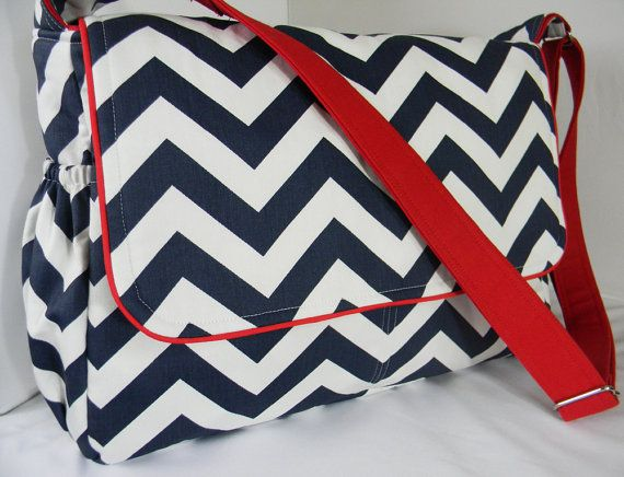 Navy Blue and White Chevron Diaper Bag Messenger by CHICBAZAR, 130.00