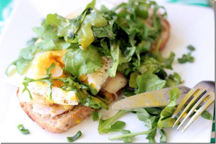 Lemon-dressed Ruccola over Turkey, Egg and Avocado Toast. Just fine 4 ...