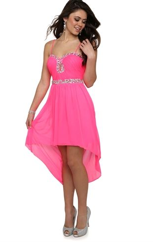 High Low Prom Dress with Stone Accents and Keyhole Cutout