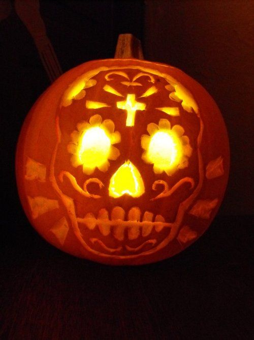 30 skull pumpkin carving ideas skull inspirations for Skeleton pumpkin design