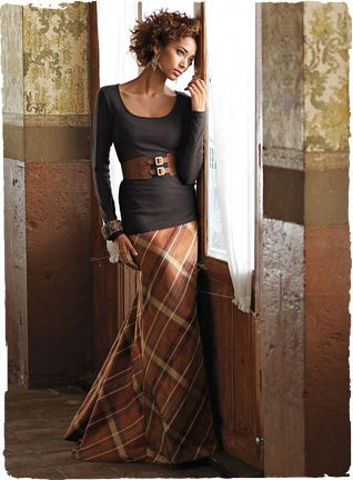 "Must make this plaid taffeta skirt!!!! Traditional plaid is given a glamorous makeover. Bias cut with a dramatic fishtail hem, our lined, floor-grazing, 41"" skirt in lustrous, copper taffeta is elegance incarnate."