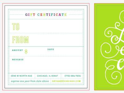 bakery gift certificate fun!   Tables   Pinterest