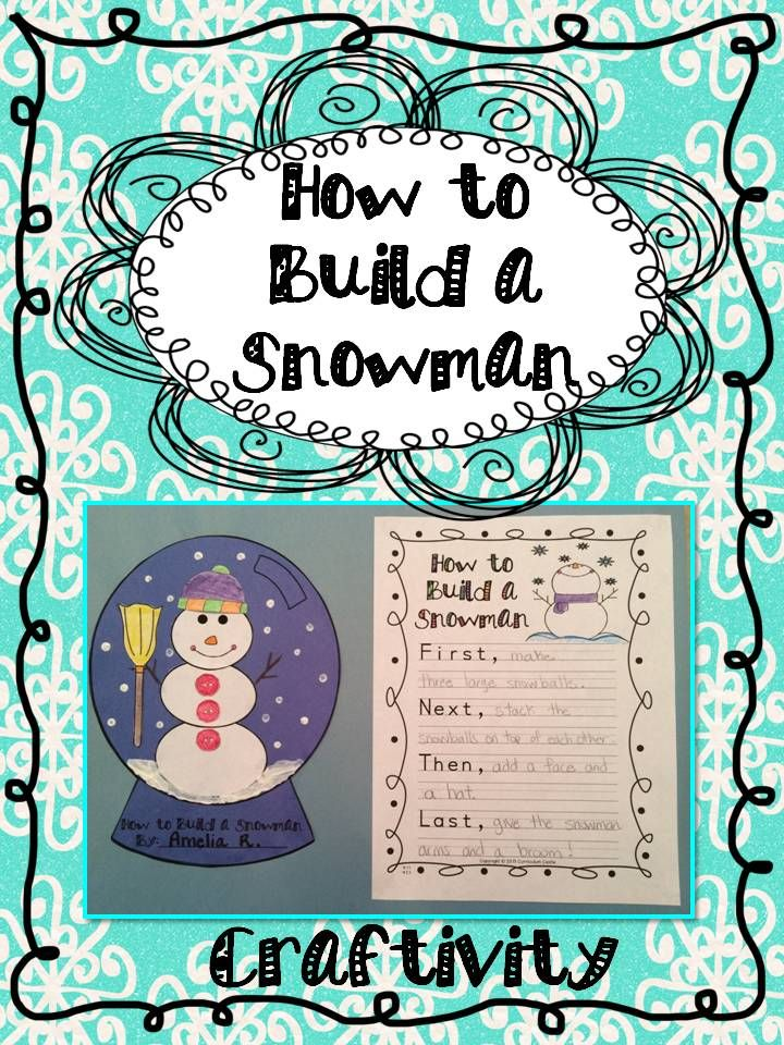 "FREEBIE! ""How to build a snowman"" snow globe craft and writing activity! Perfect for a winter themed display..."