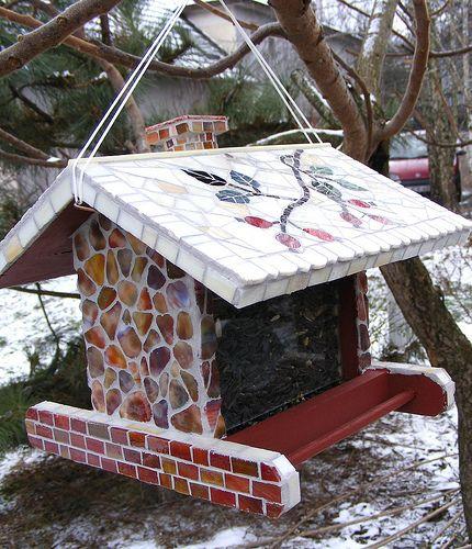 Mosaic bird feeder | Outdoors | Pinterest