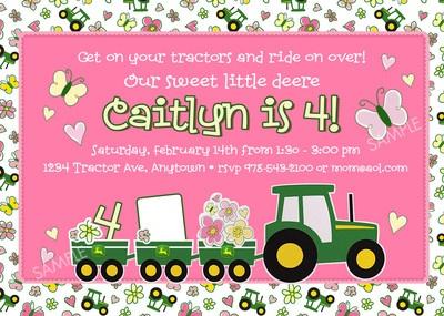 Invitation to makePink John Deere Tractor