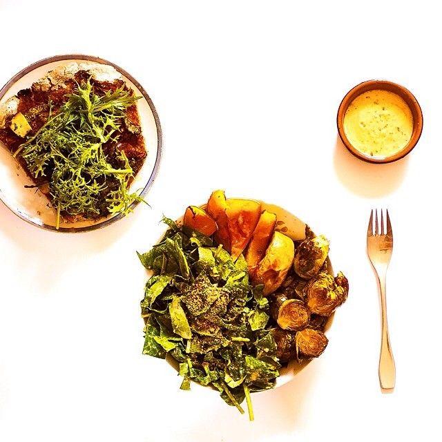 topped with fresh mizuna Spinach salad w/ #raw sesame & lemon dressing ...