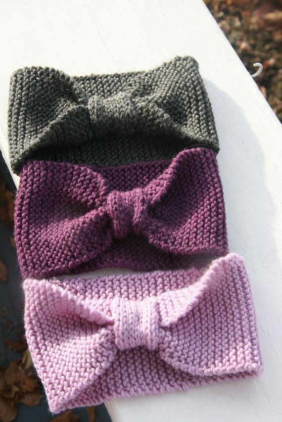 Knitted Headband With Bow Pattern : Bow knit headband