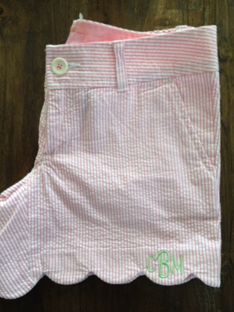 scalloped, searsucker, monogrammed shorts. only in the south