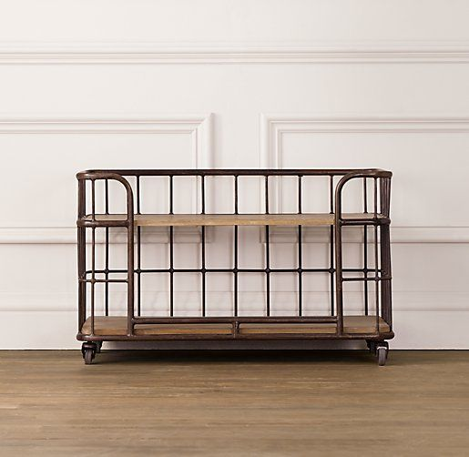 Industrial Baker's Storage Rack -  Restoration Hardware Baby & Child $239  Could I turn my old commercial laundry basket into this?