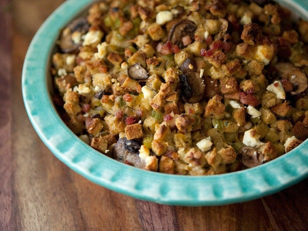 Pancetta, Leek, and Mushroom Stuffing with Goat Cheese