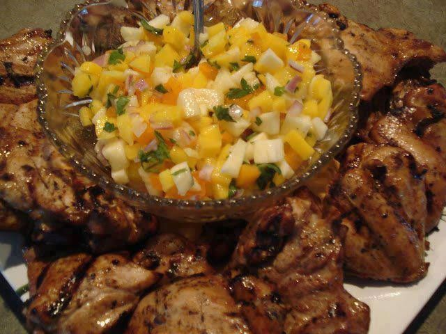 JAMAICAN CHICKEN AND MANGO SALSA 12 pieces chicken thighs Marinade: 1 ...