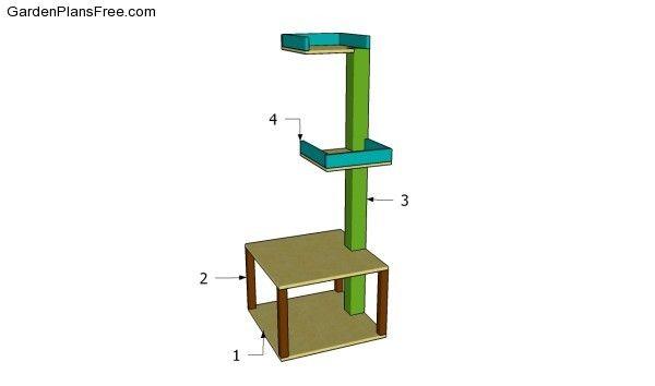Cat tower free pergola plans pinterest for Cat tower designs