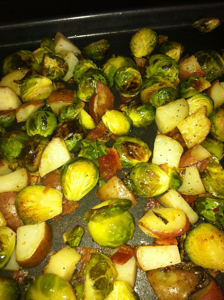 Roasted Brussels sprouts, potatoes & bacon 1 bag Brussels sprouts 4 ...
