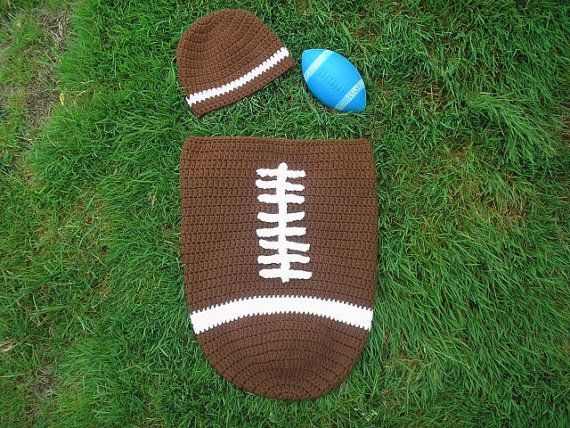Crochet Football Baby Cocoon & Hat Set Pattern