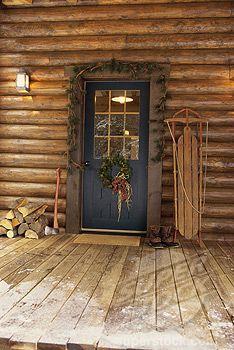 Front door rustic christmas cabin pinterest for Log house doors