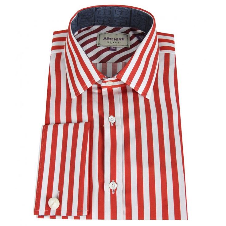 Mens striped shirt red