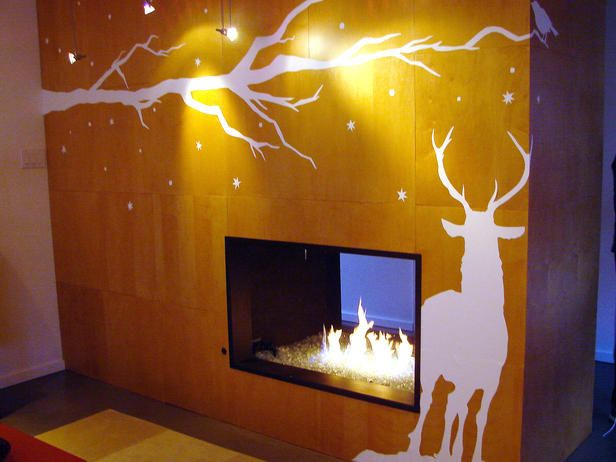 Winter Fire place decor-basement