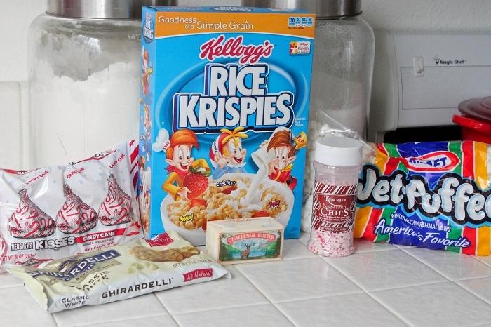 Candy Cane Crunch Krispie Treats   Recipe
