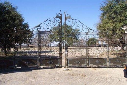 The mansion's pristine gates.