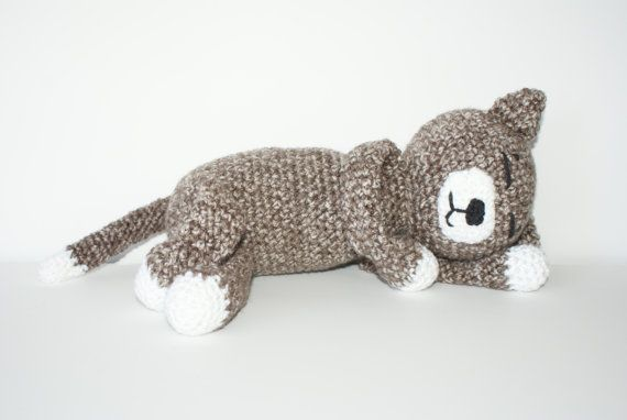Amigurumi Cat Amineko : Crochet Amigurumi Cat Amineko Brown Grey Tabby