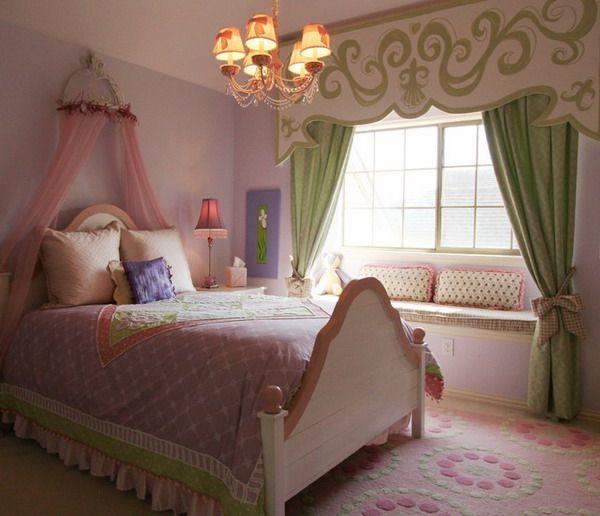 Girls bedroom in princess bedroom theme scarlett 39 s room for Kids bedroom window treatments