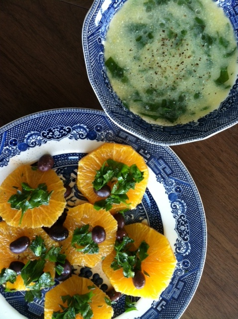 Orange Nicoise Olive Salad and Spinach Polenta Soup (Power Foods from ...