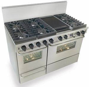 """TTN537-7BW Five Star 48"""" Pro Style Dual-Fuel Range Sealed Burners Self-Cleaning Convection Range - Natural Gas - Stainless Steel, this is the one I need only add the 4"""" backsplash"""