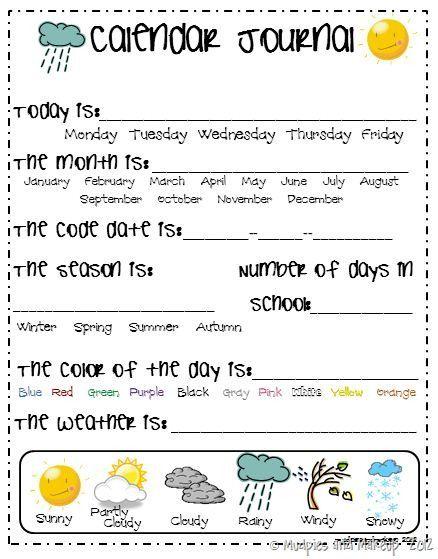 Calendar Journal For Kindergarten : Kindergarten calendar math pinterest