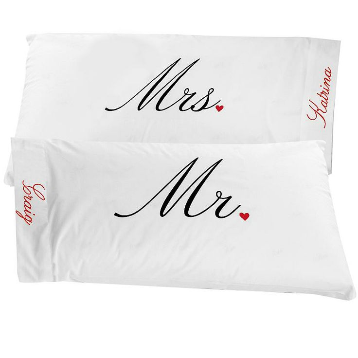 Personalised Wedding Gifts Pillow Cases : Mr. & Mrs. Pillowcases *Bedroom Pinterest