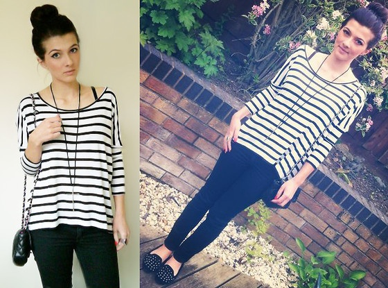Striped Top, Skinny Jeans, Studded Shoes, Cross Necklace